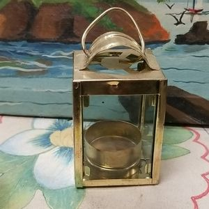 Vintage brass and glass box used as  candle holder
